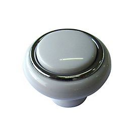 B&Q White Chrome Effect Round Internal Cabinet Knob