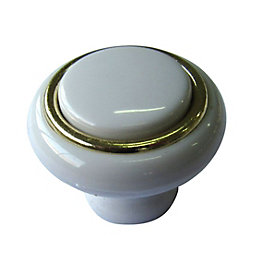 B&Q White Polished Gold Effect Round Internal Knob
