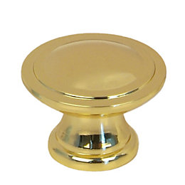 B&Q Polished Gold Effect Round Internal Knob Furniture