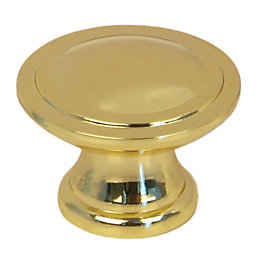 B&Q Brass-Plated Round Internal Cabinet Knob