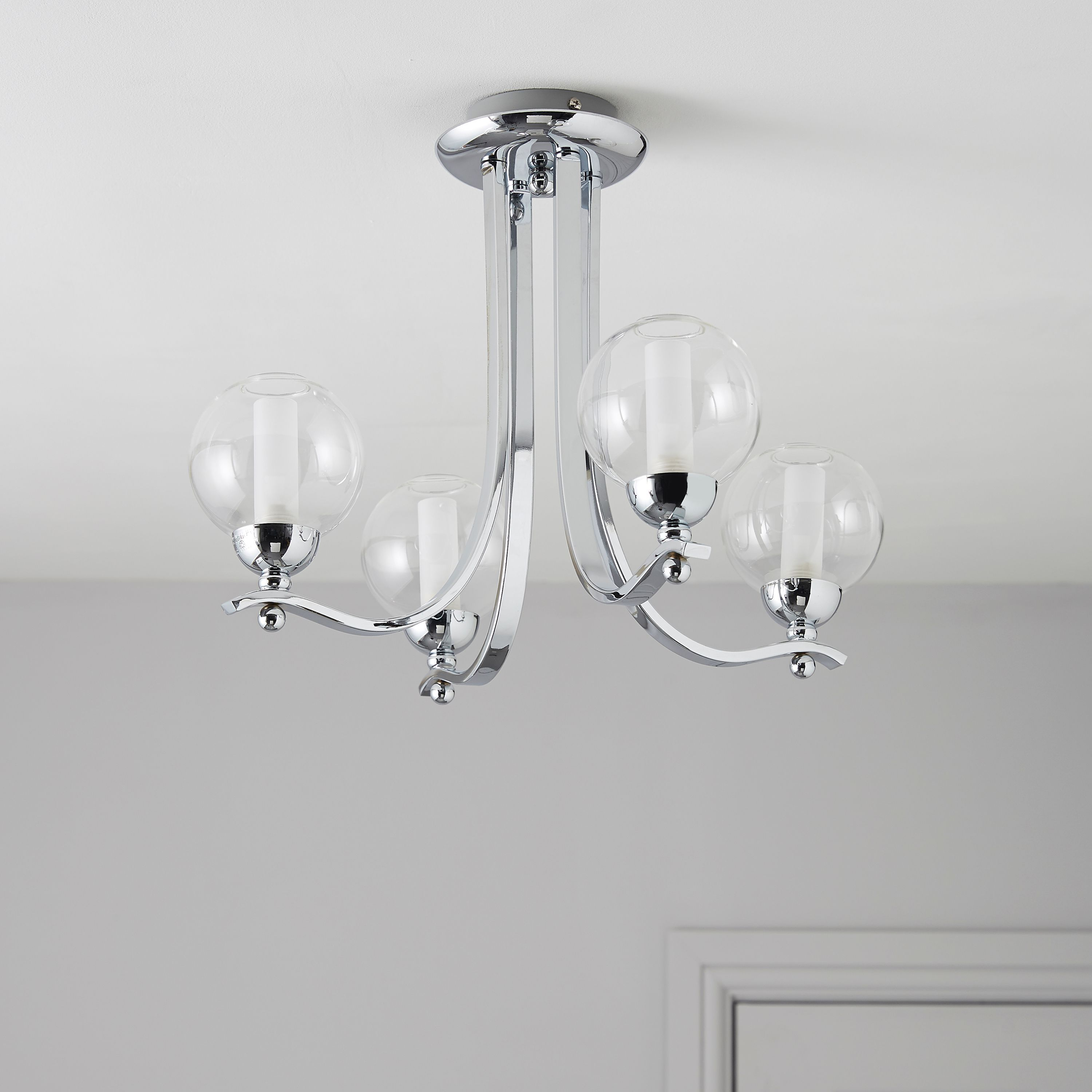 Giselle Glass Ball Silver Chrome Effect 4 Lamp Ceiling