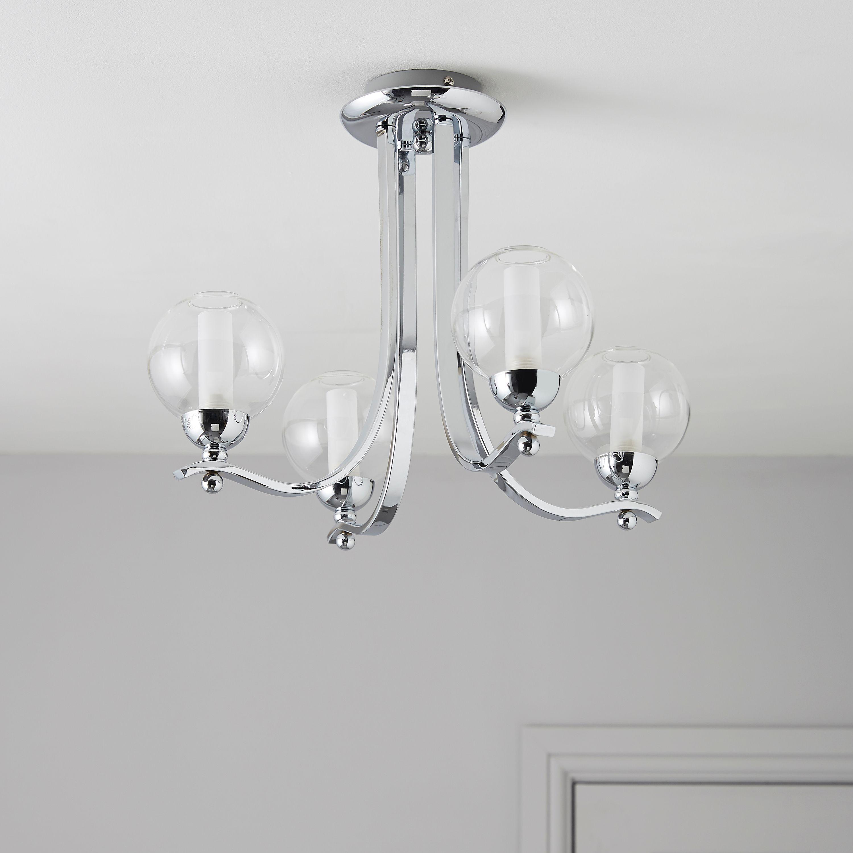 giselle glass ball silver chrome effect  lamp ceiling light departments diy  bq