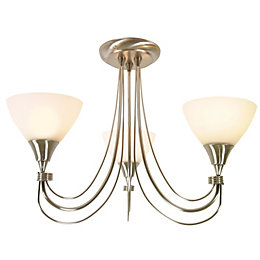 Alfaro Brushed Chrome Effect 3 Lamp Ceiling Light