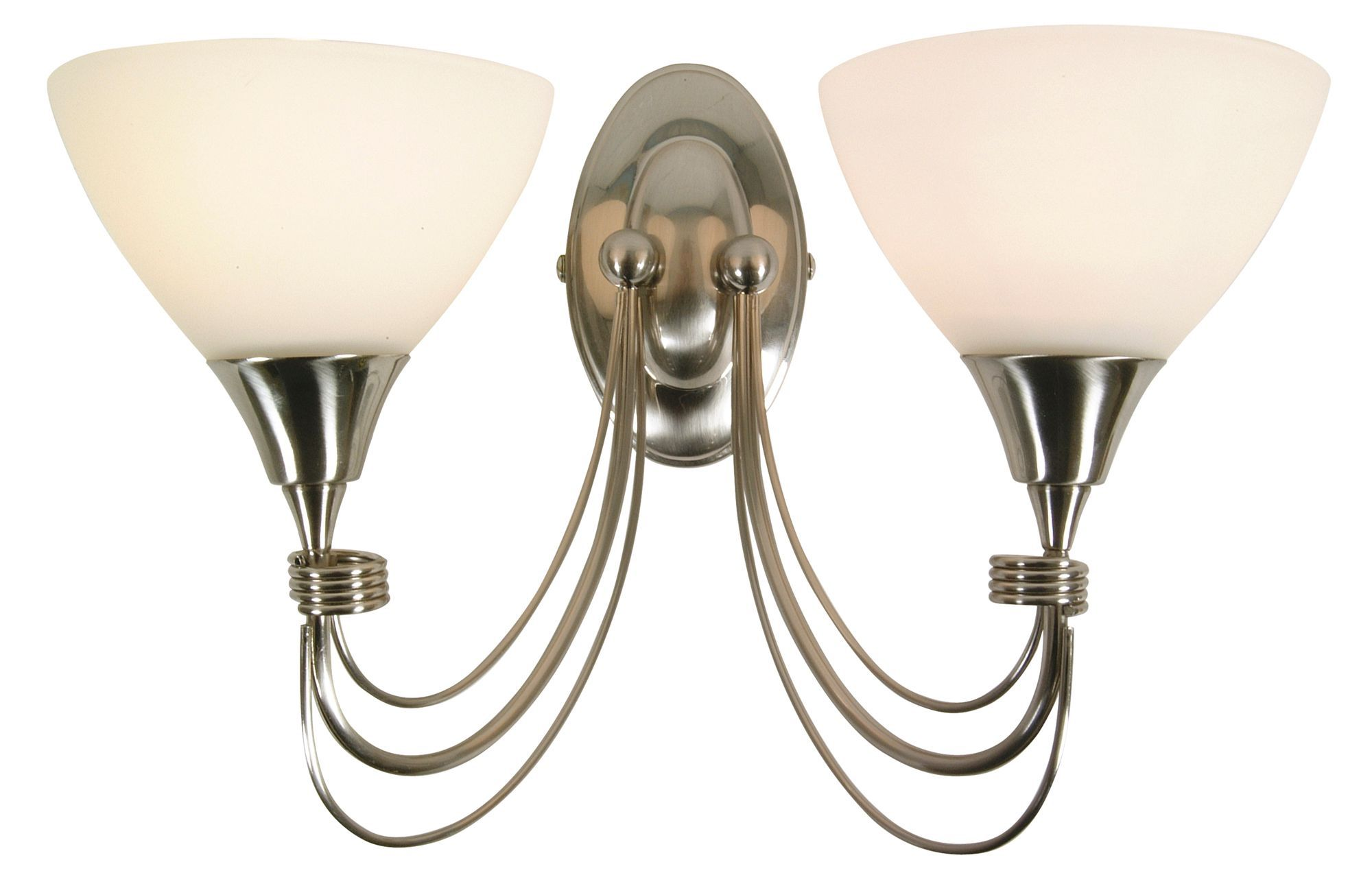 Alfaro Alabaster Brushed Chrome Double Wall Light
