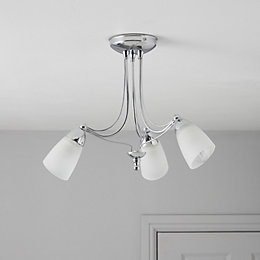 Venus Silver Chrome Effect 3 Lamp Ceiling Light