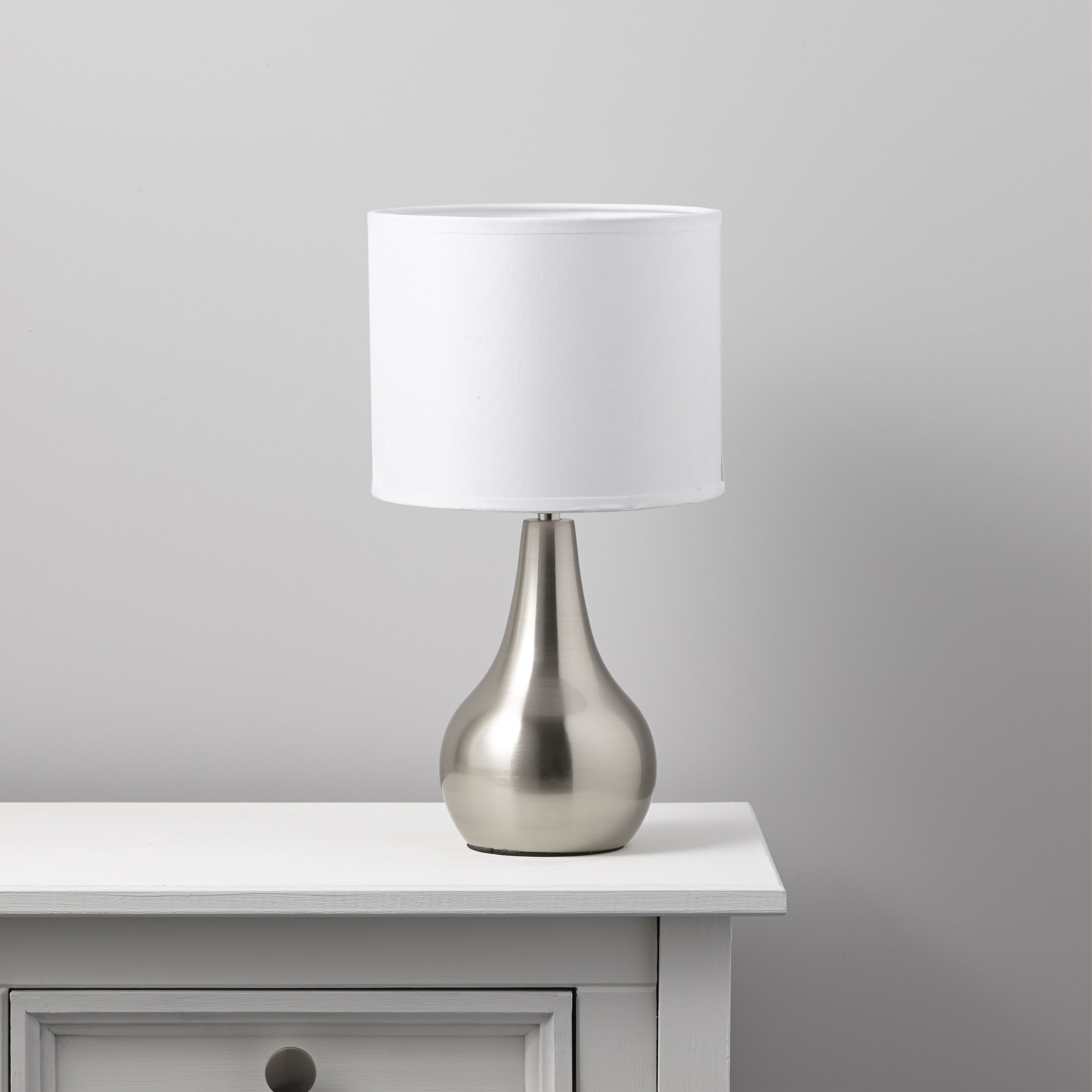Ramsey White Stainless Steel Effect Table Lamp