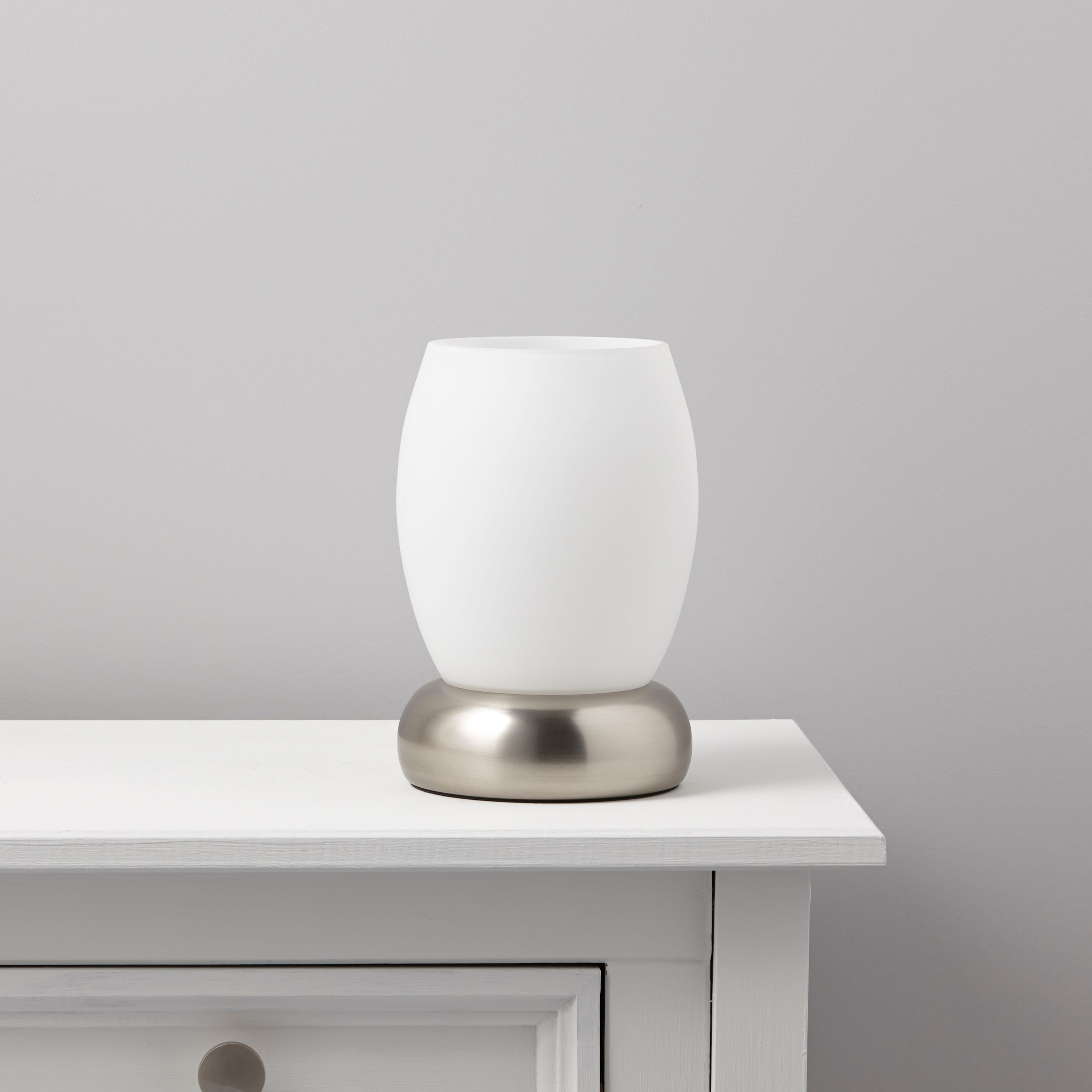 Roswell White Stainless Steel Effect Table Lamp | Departments ...