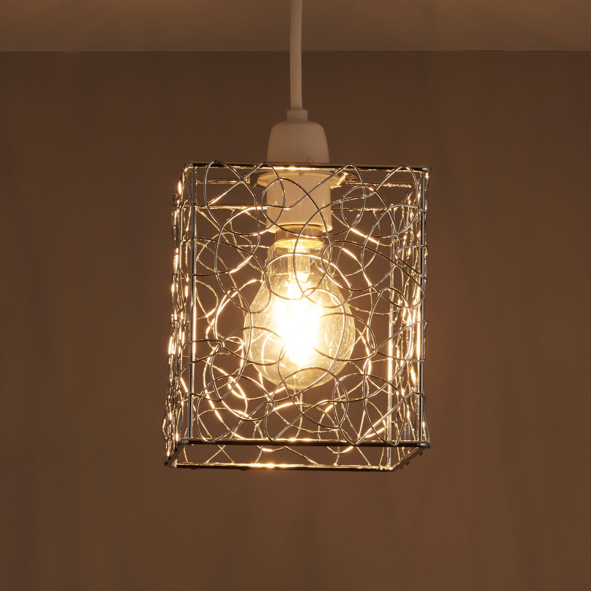 Scribble Silver Cube Light Shade (d)130mm