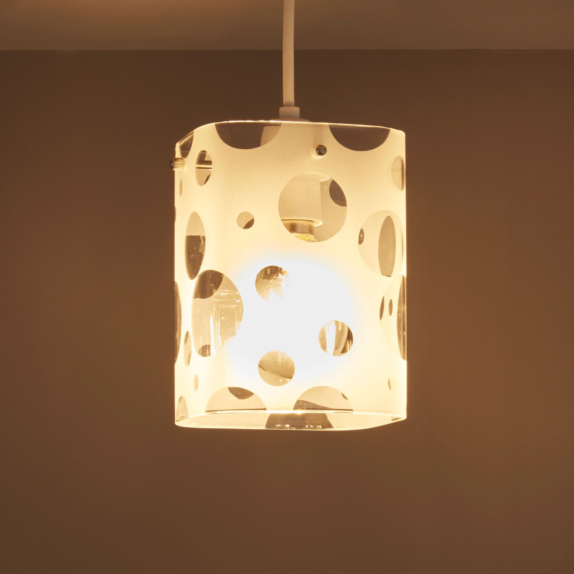 Bubbles Clear Frosted Etched Cube Light Shade (d)142mm