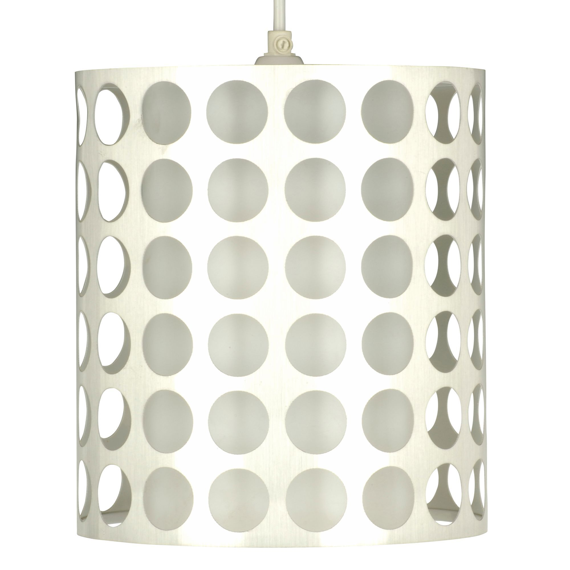 Holey White Inner Chrome Effect Cylinder Pendant Light Shade (d)205mm