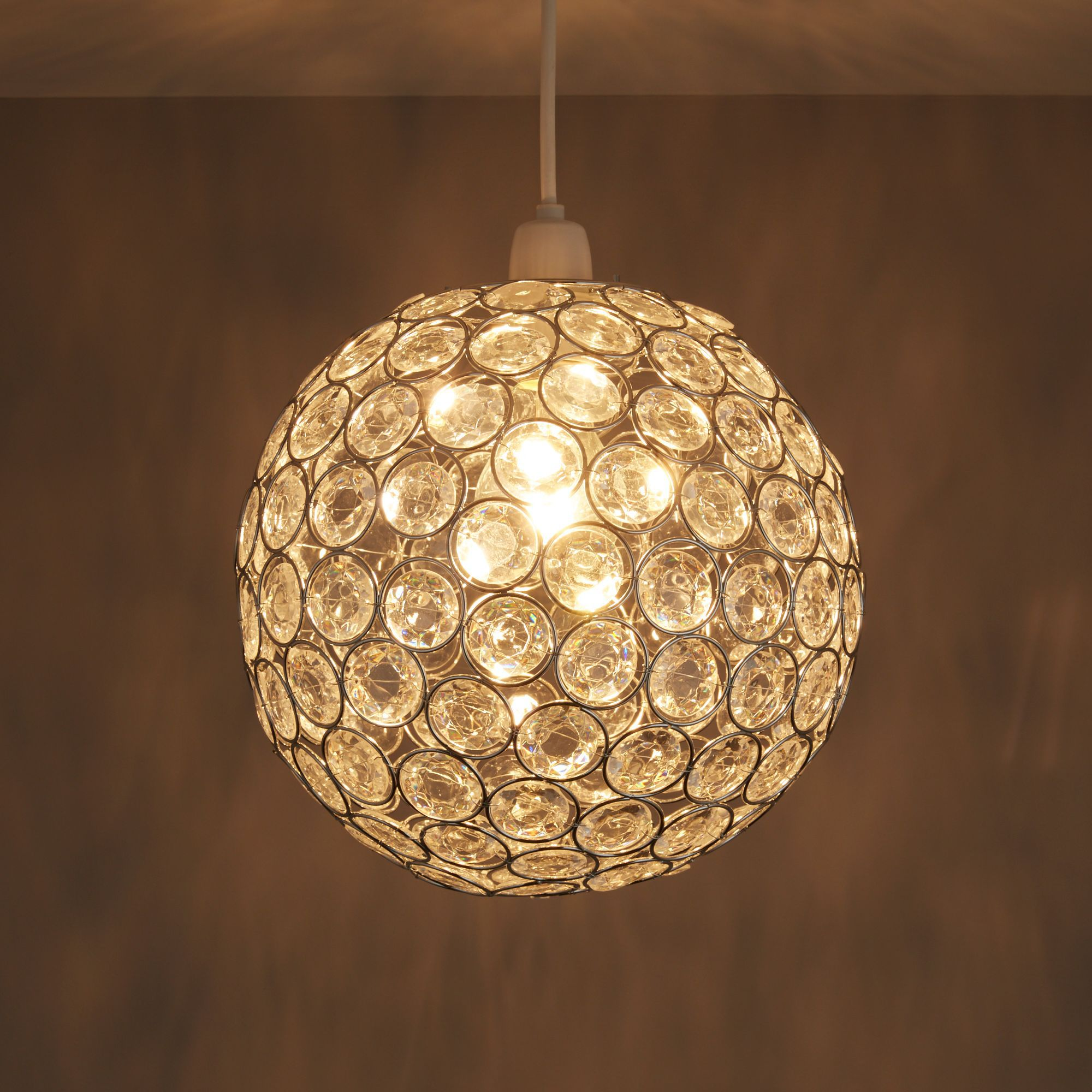 Diy at bq zoe clear crystal effect beaded rings pendant light shade d240mm aloadofball Choice Image
