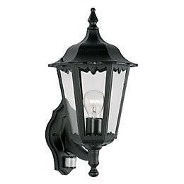 Waterville Black 60W Mains Powered External Pir Lantern