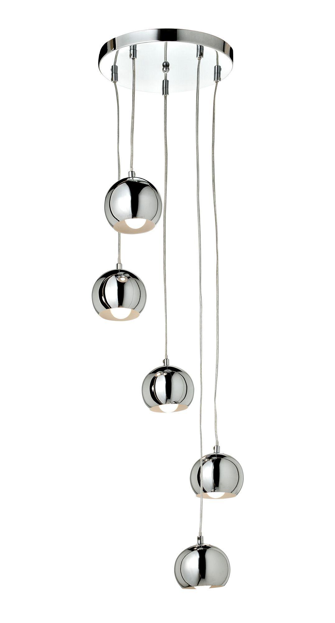 Cascade Chrome Effect 5 Lamp Ceiling Light