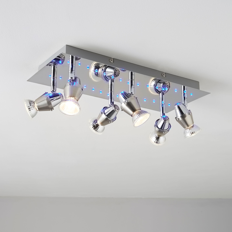 Led Light Fittings B And Q: Tornado Blue LED Chrome Effect 6 Lamp Spotlight Plate