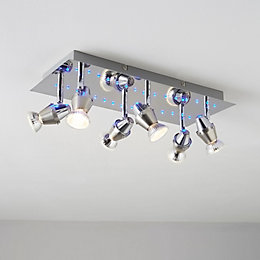 Tornado Blue LED Chrome Effect 6 Lamp Spotlight