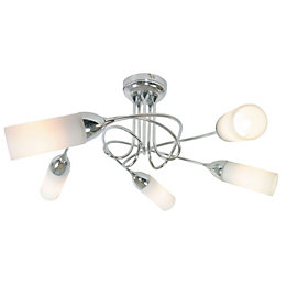 Klute Loop Arm Chrome Effect 5 Lamp Ceiling