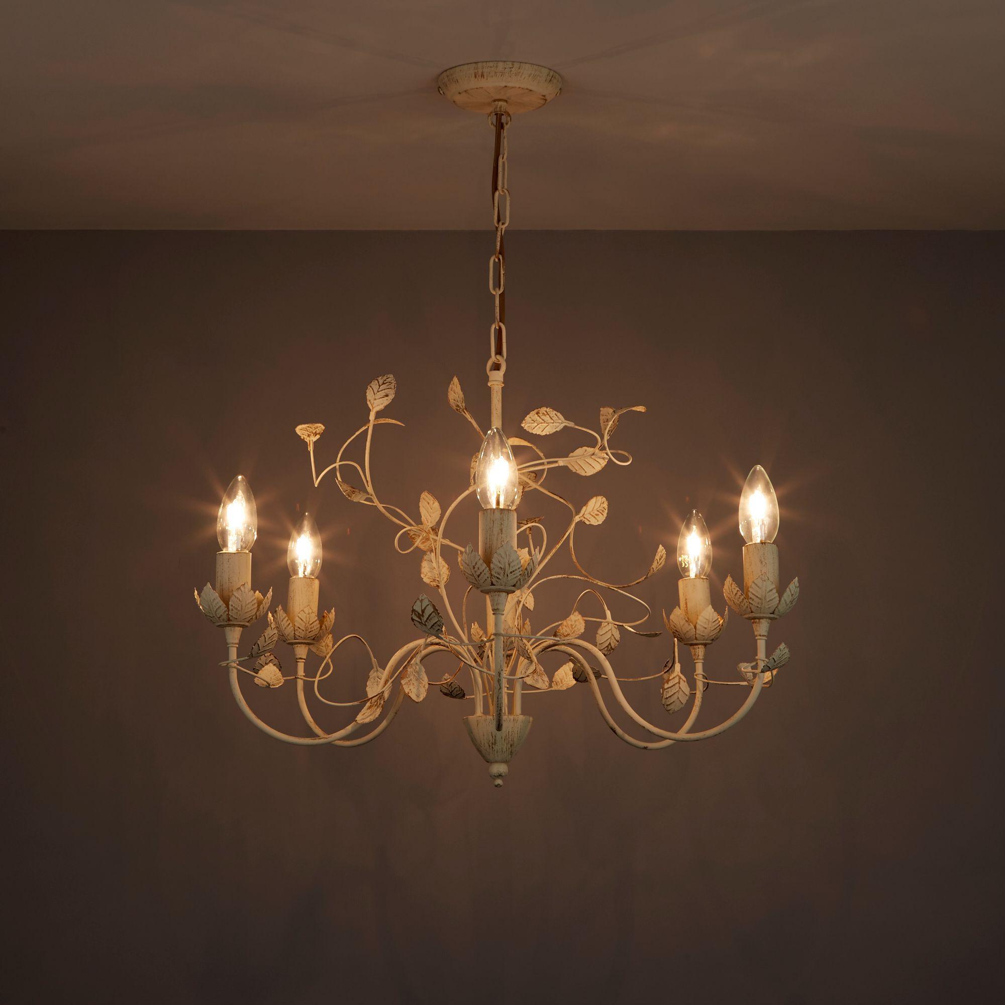Eva Cream 6 Lamp Pendant Ceiling Light