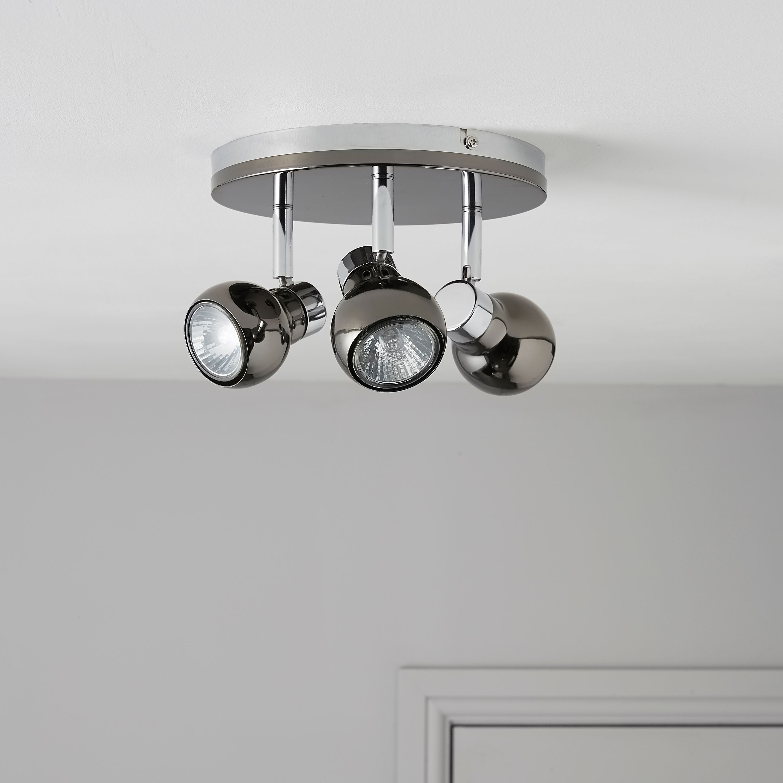 Diablo Pearl Black Nickel & Chrome Effect 3 Lamp Round Spotlight