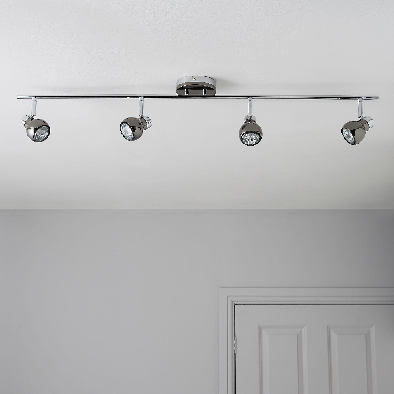 Diablo Pearl Black Nickel & Chrome Effect 4 Lamp Bar Spotlight