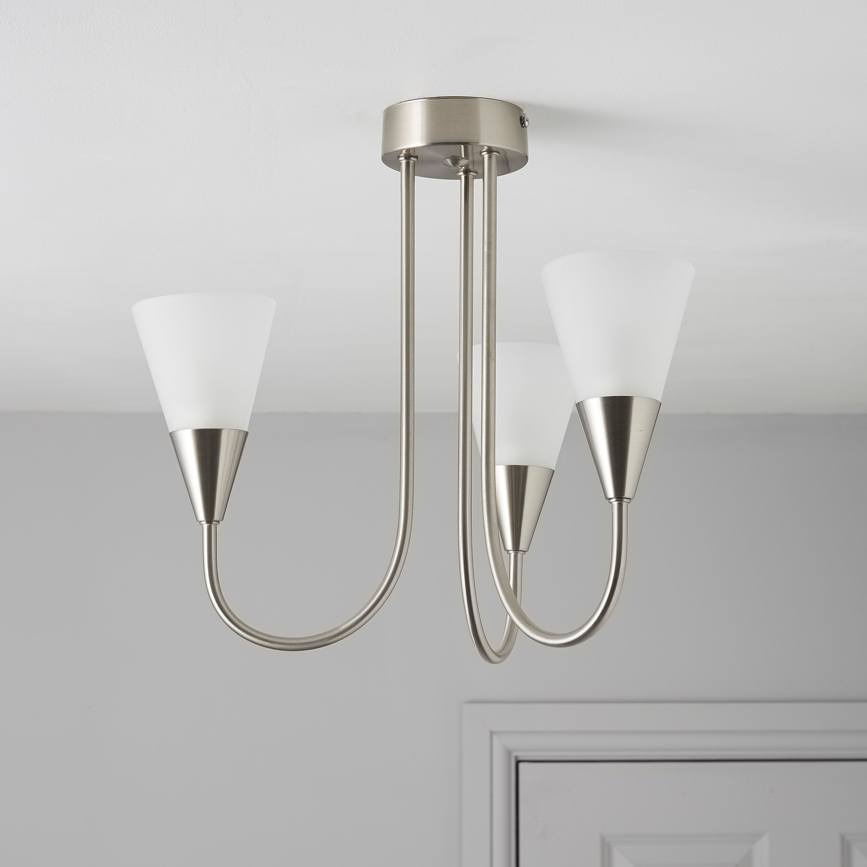Reya Nickel Effect 3 Lamp Pendant Ceiling Light | Departments | DIY at B&Q