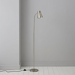 Keats Grey Nickel Effect Floor Lamp