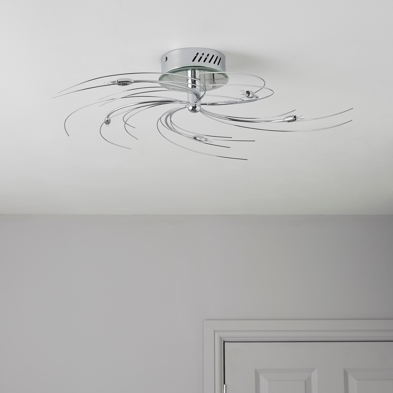Spiral Silver Chrome Effect 5 Lamp Ceiling Light