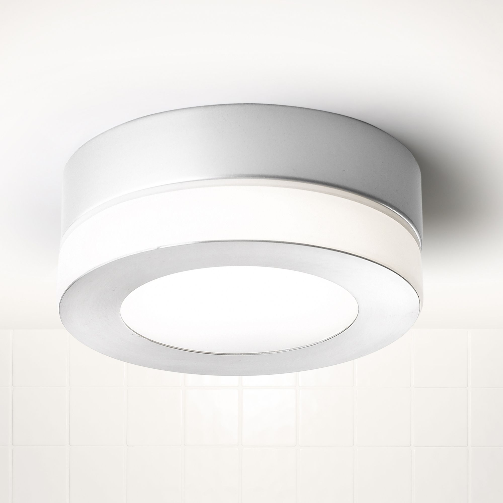 Bathroom Lighting B&Q laguna silver satin chrome effect bathroom flush light