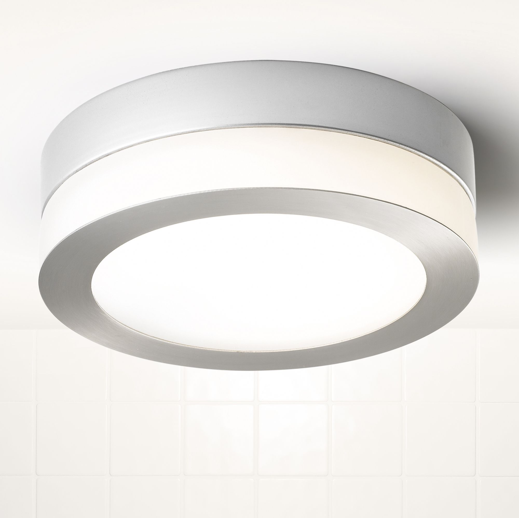 Asonia silver satin chrome effect bathroom flush light for B q bathroom lights