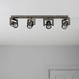Theatre Black Nickel Effect 4 Lamp Bar Spotlight