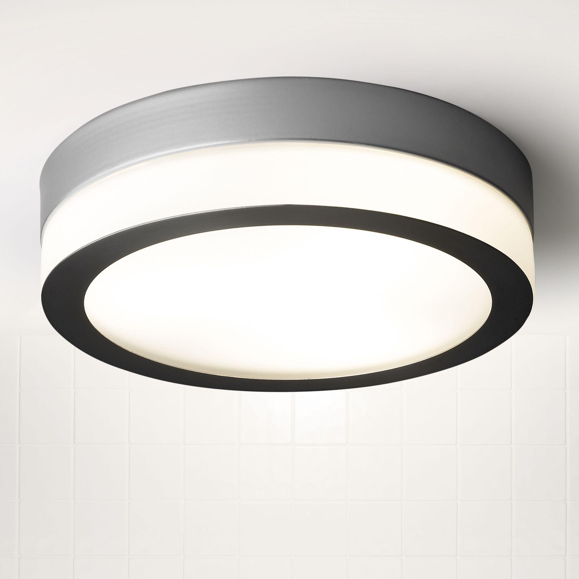 Bathroom Ceiling Lights At B&Q laguna silver satin chrome effect bathroom flush light