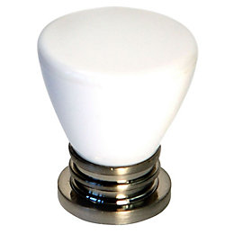 B&Q White Satin Round Furniture Knob, Pack of