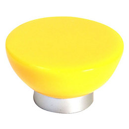 B&Q Yellow Round Furniture Knob, Pack of 1