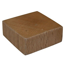 B&Q Beech Nickel Effect Square Furniture Knob (L)30mm,