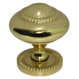 B&Q Brass Effect Round Furniture Knob with Backplate,