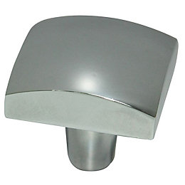 B&Q Chrome Effect Square Furniture Knob, Pack of