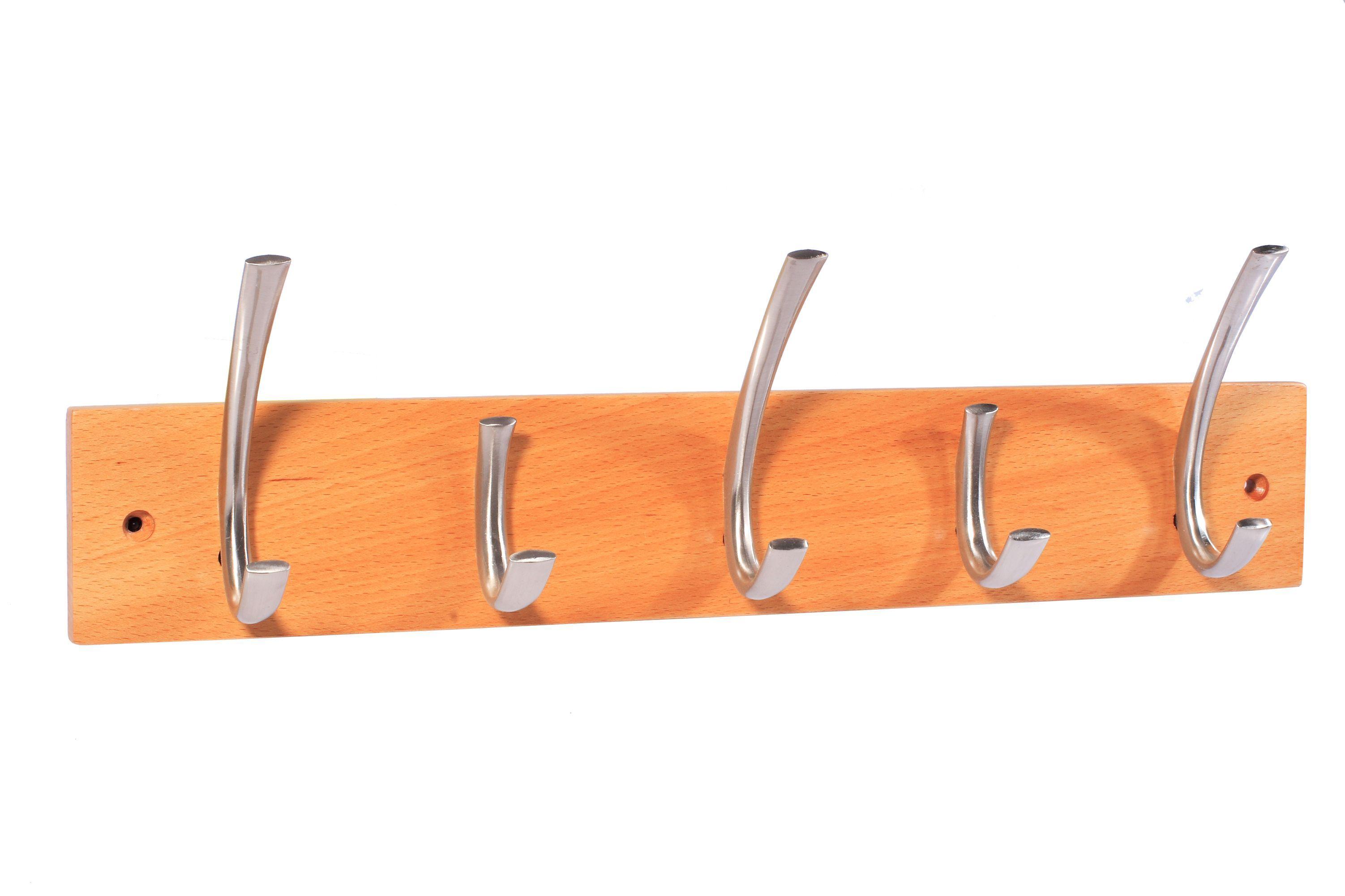 B&q Satin Nickel Effect & Pine Hook Rail (h)12mm (w)80mm (l)460mm