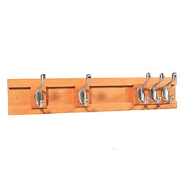 B&Q Beech & Zinc Alloy Hook Rail