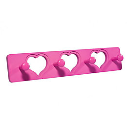 B&Q Pink Heart Hook Rail (H)12mm (W)80mm (L)400mm