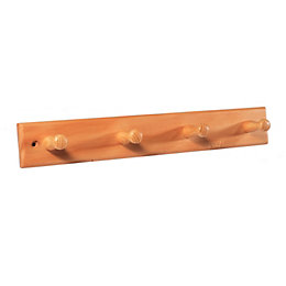 B&Q Beech Hook Rail (H)12mm (W)60mm (L)405mm