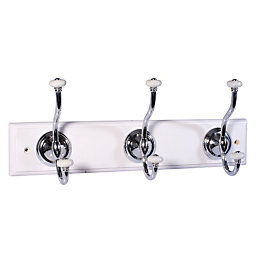 B&Q Silver & White Chrome Effect Hook Rail