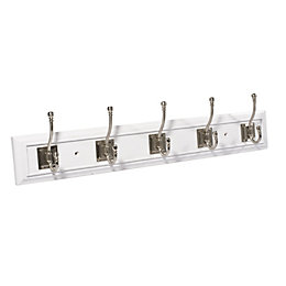 B&Q White Satin Nickel Effect Hook Rail (H)23mm