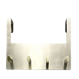 B&Q Silver Satin Nickel Effect Hook Rail (H)120mm