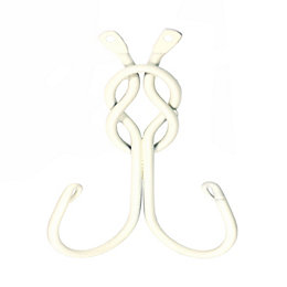 B&Q Cream Steel Double Robe Hook