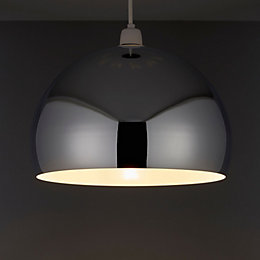 B&Q Horizon Silver Chrome Effect Domed Pendant Light