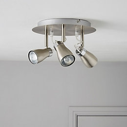 Jena Brushed Chrome Effect 3 Lamp Round Spotlight
