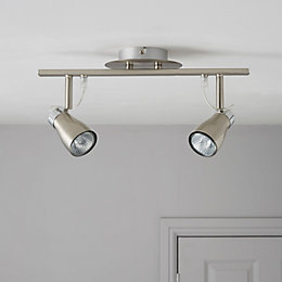 Jena Brushed Chrome Effect 2 Lamp Spotlight Bar