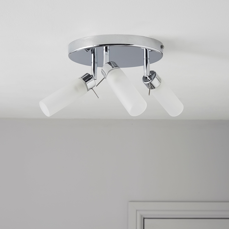 Bathroom Light Switches B&Q float silver chrome effect 3 lamp bathroom spotlight | departments