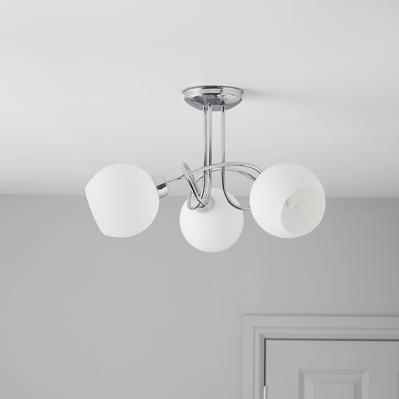 Led Light Fittings B And Q: Jago LED Chrome Effect 3 Lamp Ceiling Light