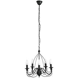 Vas Birdcage Black 5 Lamp Pendant Ceiling Light