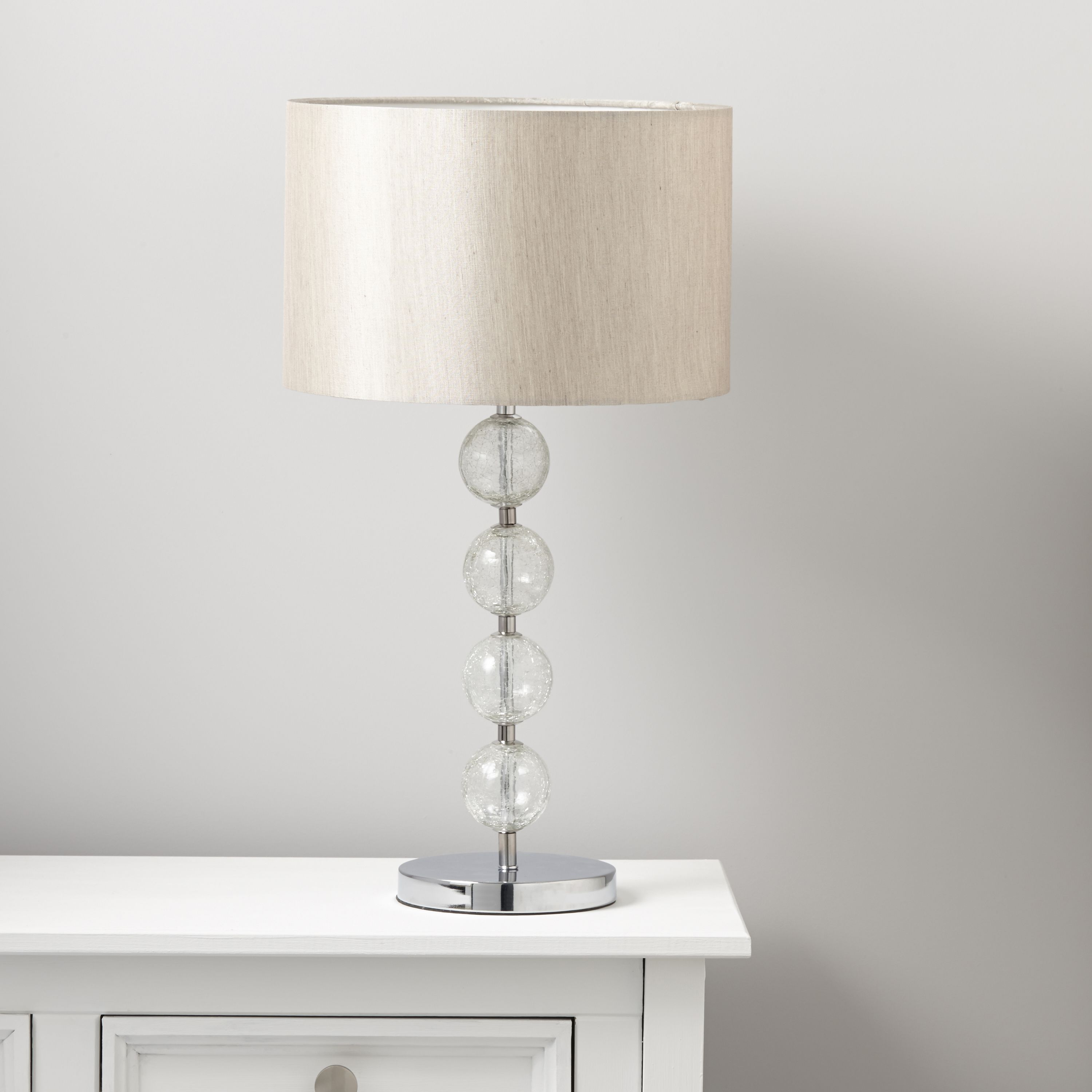 Gina Crackled Glass Cream Chrome Effect Table Lamp | Departments | DIY At  Bu0026Q